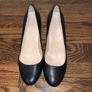 Like New Cole Haan Almond Toe Leather Wedge Pumps